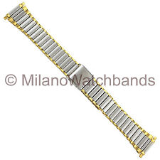 16-22mm Kreisler Stainless Gold Silver Two Tone W/Center Clasp Watch Band 388T