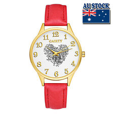 Fashion Red Leather Love Heart White Dial Quartz Watch Women Lady Wrist Watch