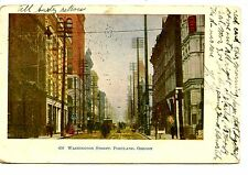 Washington Street Scene-Downtown Buildings-Portland Oregon-Vintage 1908 Postcard