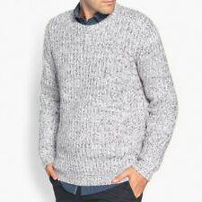 LA REDOUTE MENS CHUNKY KNIT CREW NECK JUMPER STRANDED GREY SIZE S NEW (ref 393)
