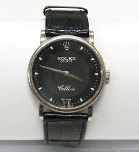 $2900 Rolex 18k White Gold Cellini 5115 A846989 Classic Mens Wrist Watch