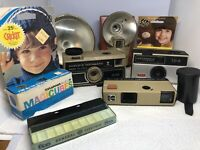 Lot of 4 VTG camera - Brownie Starfire, Hawkeye, Herco, Kodak and Bulbs, Film