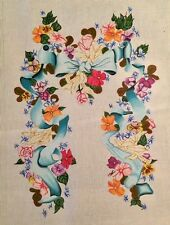 Vintage Trubey Designs Hand-painted Needlepoint Canvas - Bow, Ribbon, Flowers
