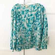 Michael Kors Plus White, Blue & Green Long Sleeve Floral Blouse - Size 2X