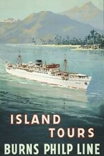BULOLO Burns-Philp Australian Liner Allcot Art 2 set modern digital PostcardS