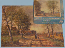 "VINTAGE TUCO DELUXE PICTURE PUZZLE JIGSAW ""AUTUMN IN THE LOWLANDS"" HARVEST CIB"