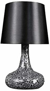 Simple Designs LT3039-BLK Mosaic Tiled Glass Genie Fabric Shade Table Lamp, B...