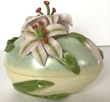 Fitz & Floyd Classics Elegant Eggs ~ Pink Easter Lily Flower Luster Trinket Box
