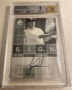 Tiger Woods 2002 Upper Deck Sign Of The Times Golf Auto Autograph BGS 9/10 ST-TW