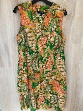 EUC! Lands End Womens Dress Sz 10 Sleeveless Pockets Paisley Yellow Green