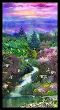 "Mountain View cotton Quilt fabric Digital Prints Paintbrush Studio Panel 24x44"""