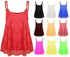 Women's Strappy Cami Flared Swing Vest Top Ladies Full Floral Lace Mesh Camisole
