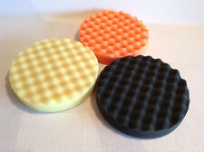 "6"" Waffle Foam Buffing Pads Set of 3 Finishes (Fine, Coarse and Finishing)"