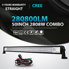 "Tri 50"" 2808W LED Work Light Bar Spot Flood Offroad Driving Pickup SUV JK vs 52"""