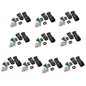 10 Set Deutsch DT 2 Pin Connector Kit 18-16 Ga Nickel Contacts Male & Female
