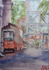 ACEO Original Watercolor Painting collectible art card / Fullerton Station