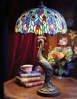 Victorian Trading Co Peacock Lamp Stained Glass Shade Free Ship NIB
