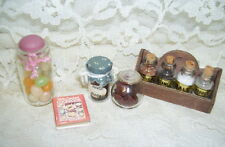 DOLL HOUSE OR PRINTERS BOX KITCHEN MINIATURES SPICE SET JELLY BEAN JAR COOK BOOK