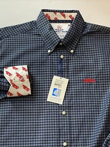 Thomas Dean Collegiate Ole Miss L/S Flip Cuff Shirt Blue Plaid Mens Large