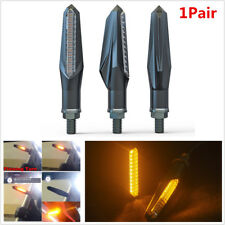 Pair 12LED Motorcycle Sequential Flowing LED Turn Signal Strip Light Amber Lamp