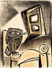 Hibou a la chaise fond ocre  A1+ by Pablo Picasso High Quality Canvas Print