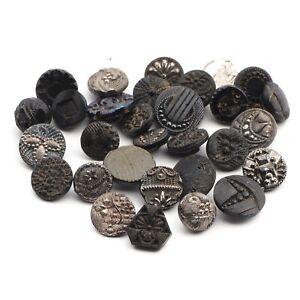 Lot (30) antique Victorian Czech diminutive small glass buttons