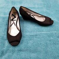 Anne Klein Sport Women's Black Fabric Peep Toe Wedge Heel Shoe Size 5 1/2 M