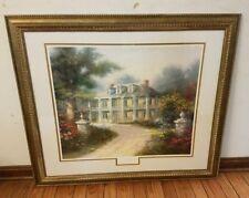 Thomas Kinkade Homestead House Lithograph 788-1250 Beautiful Gold Frame & Glass