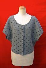 MOTH gray polka dots SHORT CAPE JACKET S dress sweater coat anthropologie