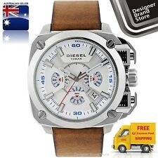 New Diesel Mens Watch Bamf Silver Square Dial Brown Leather Strap Chrono DZ7357