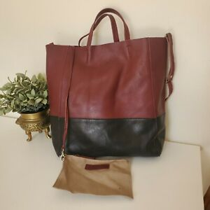 Rowallan Large 100% Leather Tote Shopper Shoulder Bag With Pouch Burgundy Black