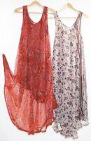 Flared Dress Umbrella Drape Long Plus Size 10 - 20 Chiffon Tunic Summer Swing