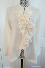 Magaschoni Cashmere Ruffle-Front Cardigan Snow (white) Large (runs small) $500