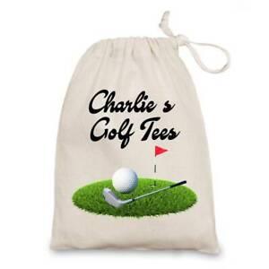 Personalised Golf Tees Bag Natural Cotton Drawstring Tees Storage Birthday Gift,