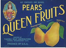 QUEEN FRUITS Original Yakima Washington Pear Crate Label