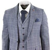 Mens Grey Blue Prince Of Wales Check Suit 3 Piece Tweed Peaky Blinders Slim Fit