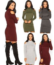 Womens High Turtle Neck Cut Out Cold Shoulder Knitted Bodycon Dress Top Jumper