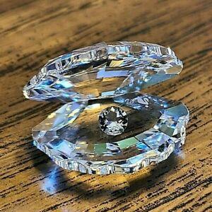 Swarovski Crystal Small Open Clam /Oyster Shell Figurine, Crystal Pearl, Box