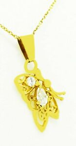 WHITE SAPPHIRE BUTTERFLY PENDANT 14K YELLOW GOLD * Free Chain * NEW WITH TAG