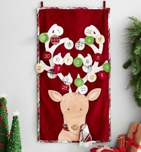 New Pottery Barn Kids Christmas Nordic RED Wool REINDEER Deer Advent Calendar