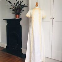 Vintage 60s 70s Cream Pale Yellow Lace Romantic Long Maxi Wedding Dress 8 10