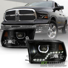 Black Smoke 2009-2018 Dodge Ram 1500 2500 3500 SMD LED Halo Projector Headlights