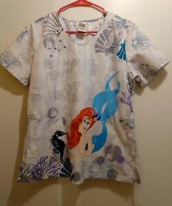 Disney Ariel The Little Mermaid Blue with Glitter Ladies Scrub Top Size m.