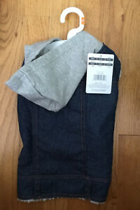 DOG BLUE JEAN JACKET WITH HOOD SIZE M BY PLACE & TIME NWT $24.99