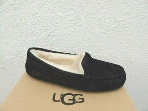 UGG BLACK ANSLEY MILKY WAY SUEDE/ WOOL MOCCASIN SLIPPERS, US 11/ EUR 42 ~NIB