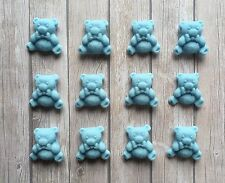 12 Edible Sugar paste TEDDY BEAR cake Toppers - Baby Blue -Baby Shower, New Baby