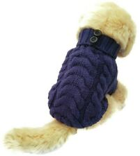 Handmade Dog Warm Sweater Blue Pet Knitted Clothes Winter Apparel Puppy Perro