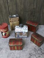 Vintage Lot of 6 Mixed Advertising Tins Sugar Shack, Baker's Cocoa, Calumet +