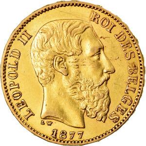 [#873505] Coin, Belgium, Leopold II, 20 Francs, 20 Frank, 1877, AU(55-58), Gold