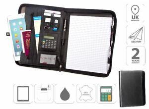 Conference Folder A4 Zipped Folder With Calculator Plus iPad Holder Black FI6521